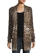 Leopard-Print Cashmere Duster