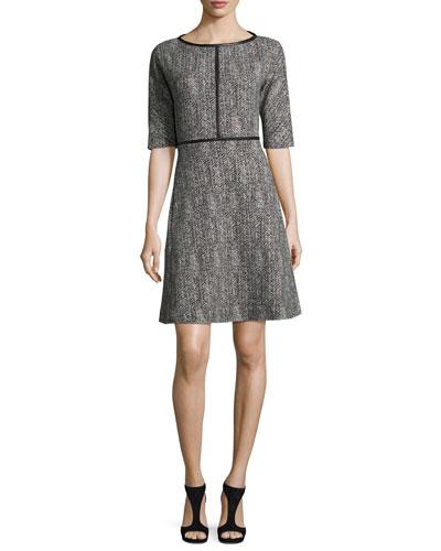 Elbow-Sleeve Leather-Trim Herringbone Dress