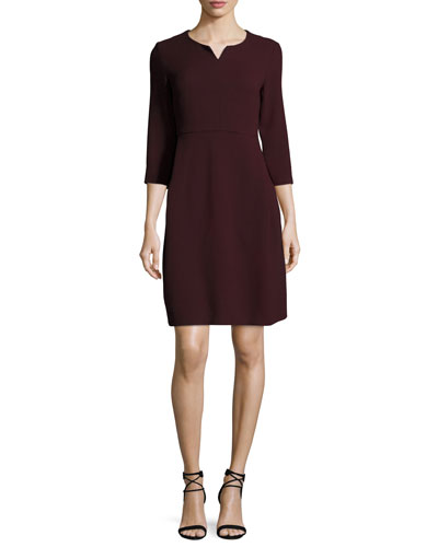 3/4-Sleeve Notched Wool Crepe Dress