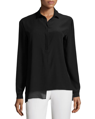 Long-Sleeve Silk Tunic w/ Chiffon Overlay