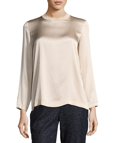 Long-Sleeve Knit-Trim Silk Blouse