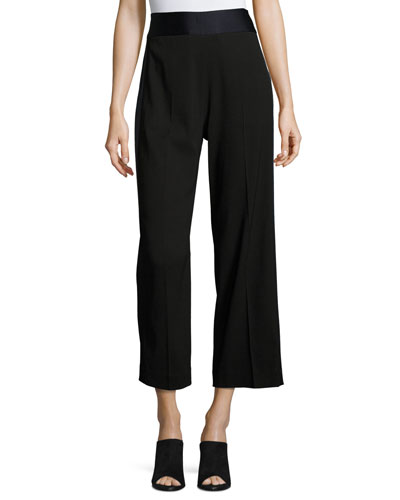 Satin-Trim Cropped Tuxedo Pants