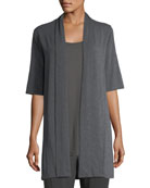 Long Lightweight Stretch-Jersey Cardigan