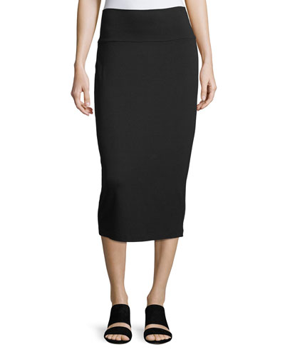 Fold-Over Knee-Length Pencil Skirt, Petite
