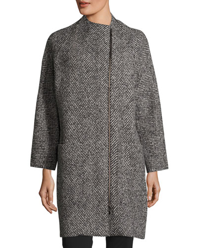 Zip-Front Oversized Herringbone Wool Coat