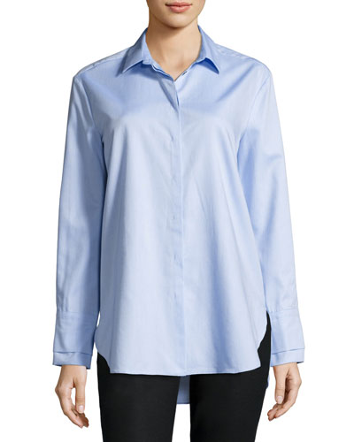 Long-Sleeve Double-Cuff Button-Down Cotton Shirt
