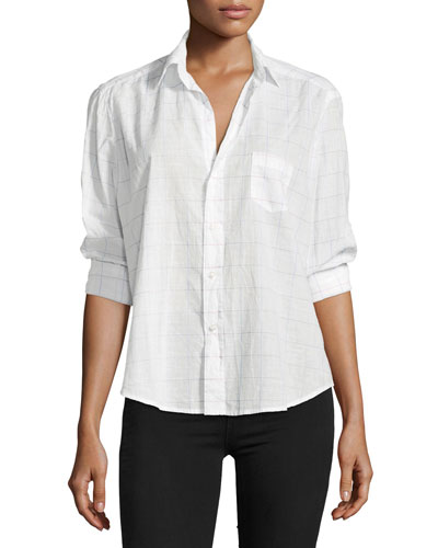 Eileen Button-Front Long-Sleeve Check Shirt