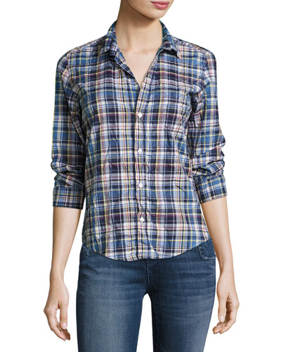 Barry Washed Plaid Cotton Shirt, Blue Pattern