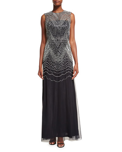 Sleeveless Metallic Geometric-Embroidered Gown