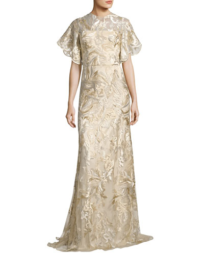 Short Tulip Sleeve Embroidered Lace Gown