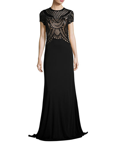 Short-Sleeve Jersey Gown w/ Sequined Geometric Detailing