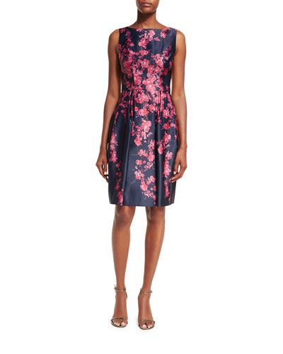 Sleeveless Bateau-Neck Floral Satin Cocktail Dress