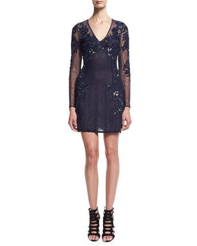 Long-Sleeve Embellished Cocktail Dress, Indigo
