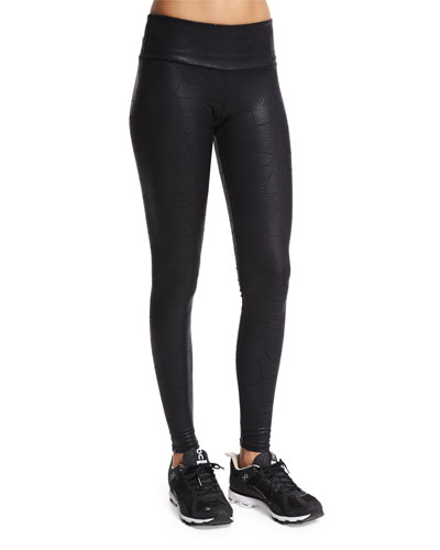 Coated Snake-Embossed Long Legging