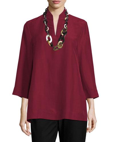 3/4-Sleeve High-Collar Doupioni Silk Blouse, Plus Size