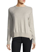 Crewneck Long-Sleeve Boxy Pullover Sweater w/ Ruffles