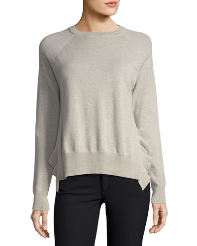 Crewneck Long-Sleeve Boxy Pullover Sweater w/ Ruffles