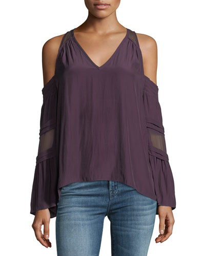 Faretta V-Neck Cold-Shoulder Blouse