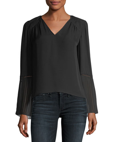 Sonia V-Neck Long-Sleeve Blouse