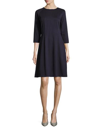 3/4-Sleeve Ottoman Knit A-Line Dress