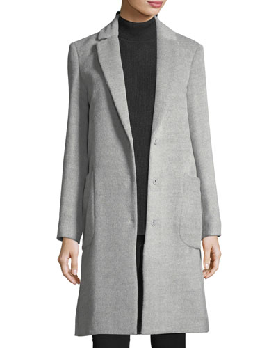Snap-Front Wool Cocoon Coat