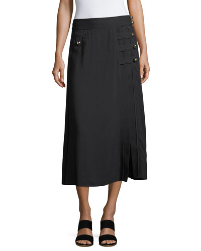 Wesley Viscose Twill Midi Skirt w/ Button Trim