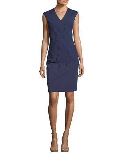 Embroidered V-Neck Sleeveless Sheath Dress