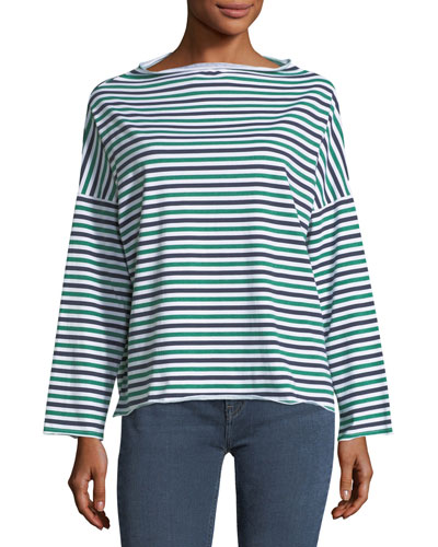 Extra Striped Long-Sleeve Cotton Top