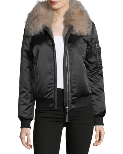 Long-Sleeve Zip-Front Bomber Jacket w/ Fur Collar