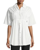 Convertible Poplin Gathered Button-Front Shirt