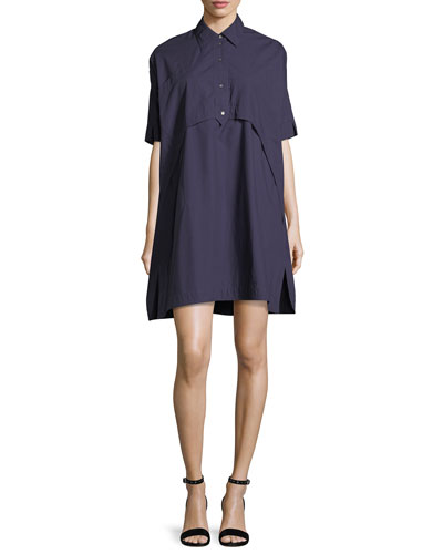 Elliptical Oversized Poplin Tunic Dress