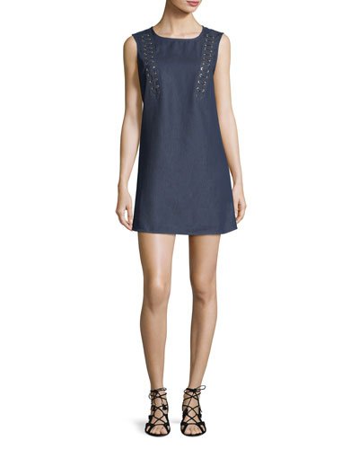 Lace-Up Sleeveless Chambray A-line Dress