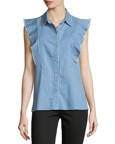 Sleeveless Ruffled Button-Front Denim Shirt