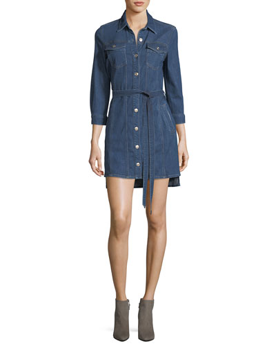 Trucker Long-Sleeve Button-Front Belted Denim Dress