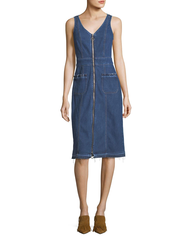 V-Neck Zip-Front Sleeveless Denim Dress