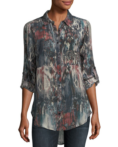 Evelyn Button-Front Abstract-Print Silk Tunic