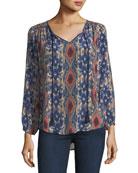 Janessa Ikat-Print Silk Tunic, Plus Size