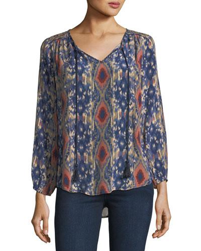 Janessa Ikat-Print Silk Tunic