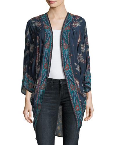 Shara Printed Kimono Jacket, Plus Size