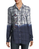 Emma Long-Sleeve Dip-Dyed Plaid Button-Front Shirt