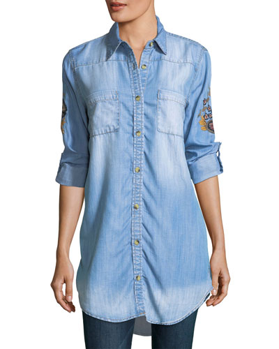 Tina Denim Embroidered-Back Tunic, Plus Size