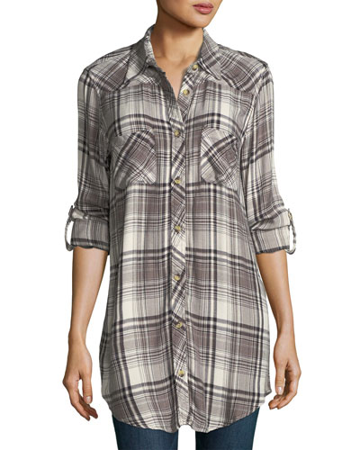 Tina Plaid Embroidered-Back Tunic