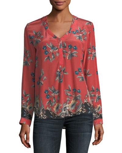 Genevia Long-Sleeve Floral-Print Silk Blouse