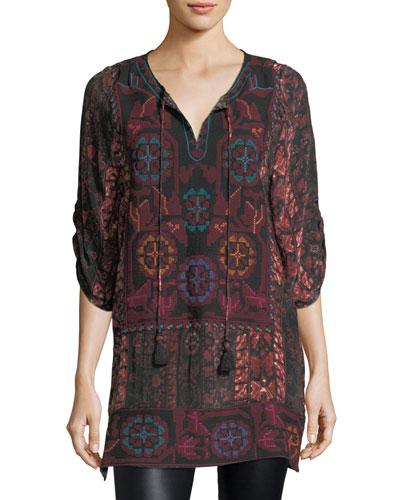Adora 3/4-Sleeve Embroidered Printed Tunic