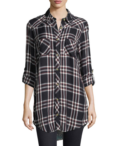 Tina Plaid Mixed-Media Tunic, Plus Size