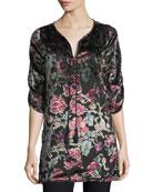 Joan Floral Velvet Burnout Long Tunic, Plus Size