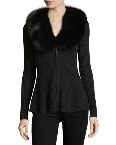 Luxury Cashmere Zip-Front Cardigan w/ Fox Fur Collar