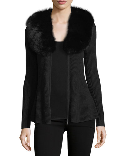 Cashmere Zip-Front Cardigan w/ Fox Fur Collar