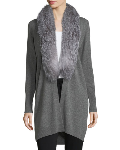 Oversized Cashmere Cardigan w/ Fox Fur Collar