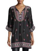 Pooja 3/4-Sleeve Embroidered Tunic, Plus Size